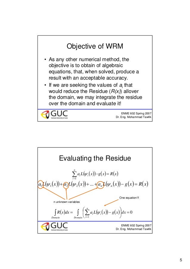 5 ENME 602 Spring 2007 Dr. Eng. Mohammad Tawfik Objective of WRM • As any other numerical method, the objective is to obta...