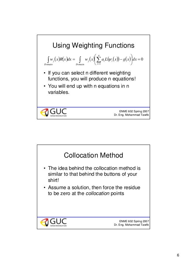 6 ENME 602 Spring 2007 Dr. Eng. Mohammad Tawfik Using Weighting Functions • If you can select n different weighting functi...