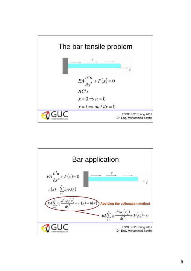 8 ENME 602 Spring 2007 Dr. Eng. Mohammad Tawfik The bar tensile problem ( ) 0/ 00 ' 02 2 =⇒= =⇒= =+ ∂ ∂ dxdulx ux sBC xF x...
