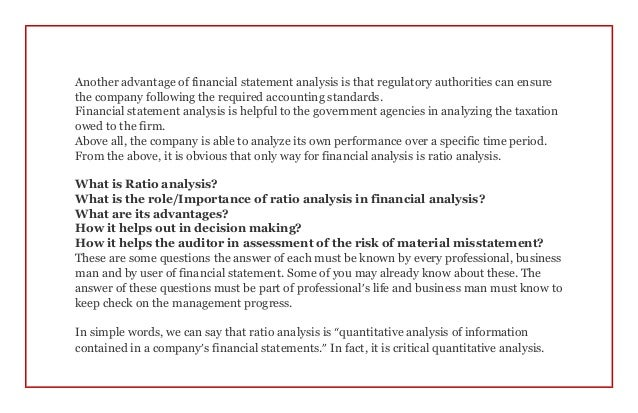 the effect of financial ratios on The remainder of our explanation of financial ratios and financial statement analysis will use information from the following balance sheet.