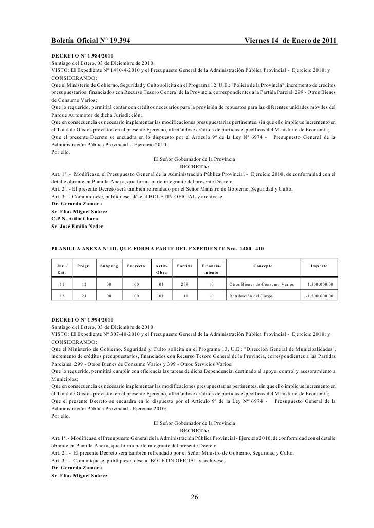 Boletín Oficial Nº 19.394                                                                 Viernes 14 de Enero de 2011DECRE...