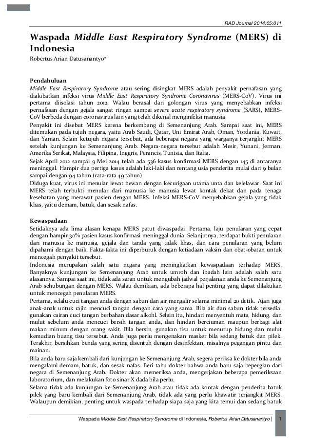 RAD Journal 2014:05:011 Waspada Middle East Respiratory Syndrome di Indonesia, Robertus Arian Datusanantyo | 1 Waspada  ...