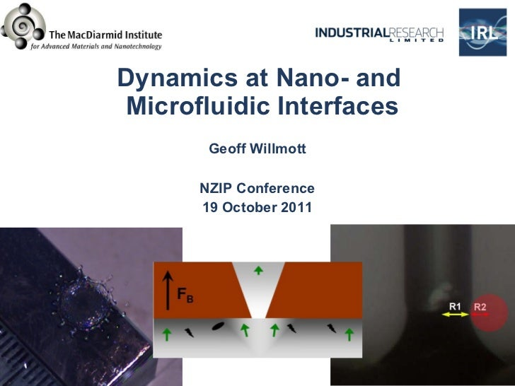 Dynamics at Nano- and  Microfluidic Interfaces Geoff Willmott NZIP Conference 19 October 2011