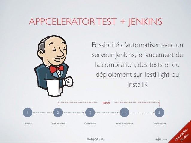 M ontpellier M obile @timoa#MtpMobile APPCELERATORTEST + JENKINS Possibilité d'automatiser avec un serveur Jenkins, le la...