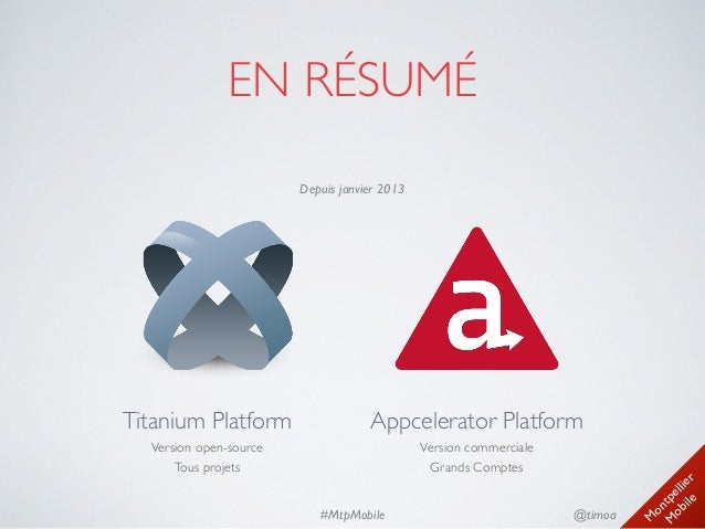 M ontpellier M obile @timoa#MtpMobile EN RÉSUMÉ Titanium Platform Version open-source Tous projets Appcelerator Platfor...