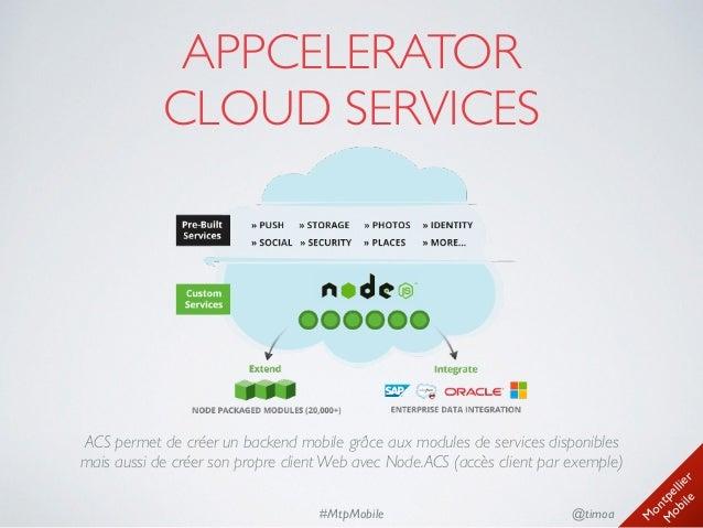 M ontpellier M obile @timoa#MtpMobile APPCELERATOR CLOUD SERVICES ACS permet de créer un backend mobile grâce aux module...