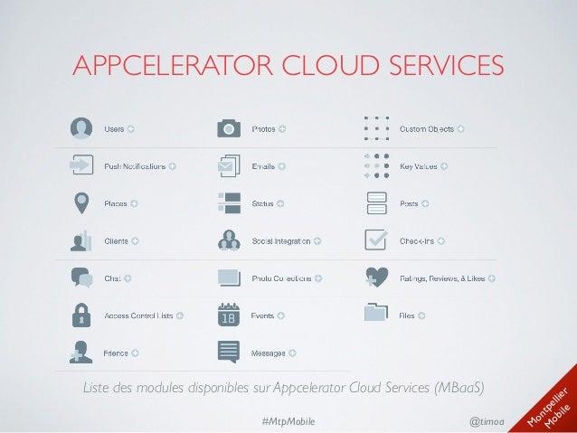 M ontpellier M obile @timoa#MtpMobile APPCELERATOR CLOUD SERVICES Liste des modules disponibles sur Appcelerator Cloud Se...