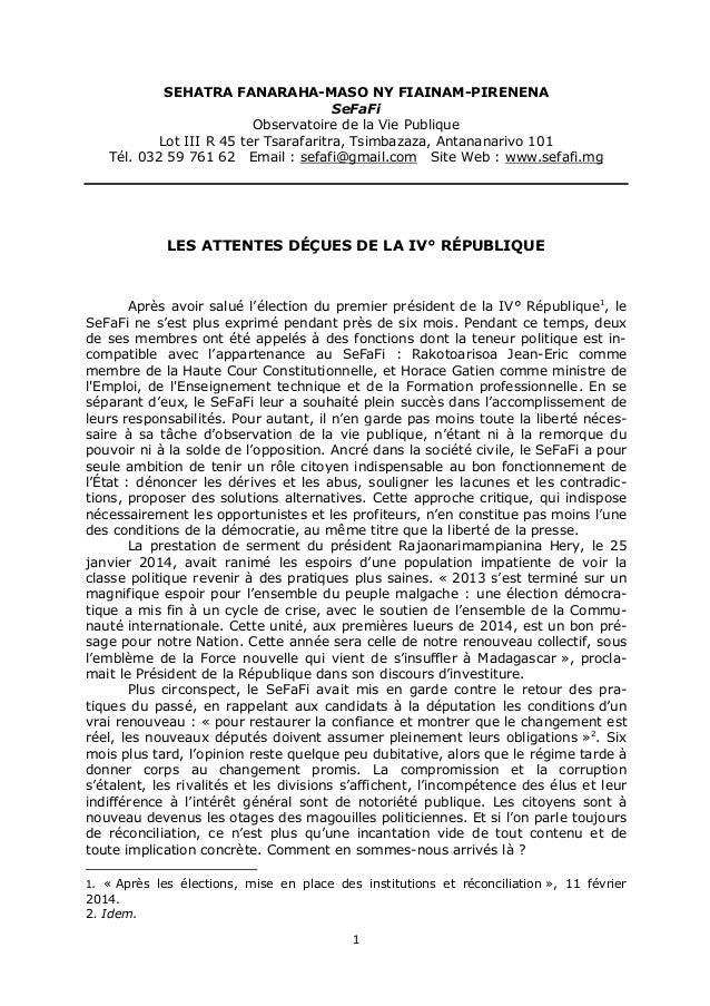 SEHATRA FANARAHA-MASO NY FIAINAM-PIRENENA  SeFaFi  Observatoire de la Vie Publique  Lot III R 45 ter Tsarafaritra, Tsimbaz...