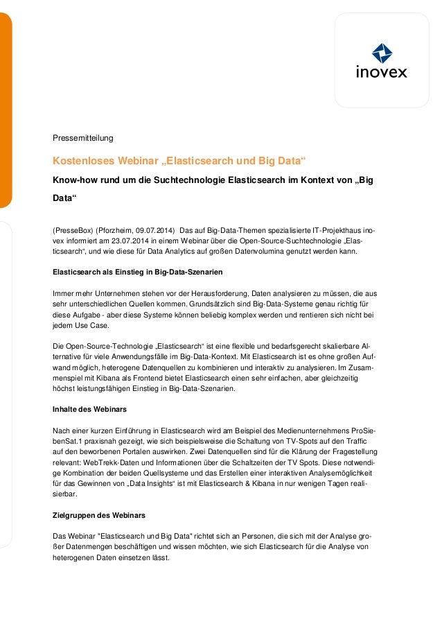 """Pressemitteilung Kostenloses Webinar """"Elasticsearch und Big Data"""" Know-how rund um die Suchtechnologie Elasticsearch im Ko..."""