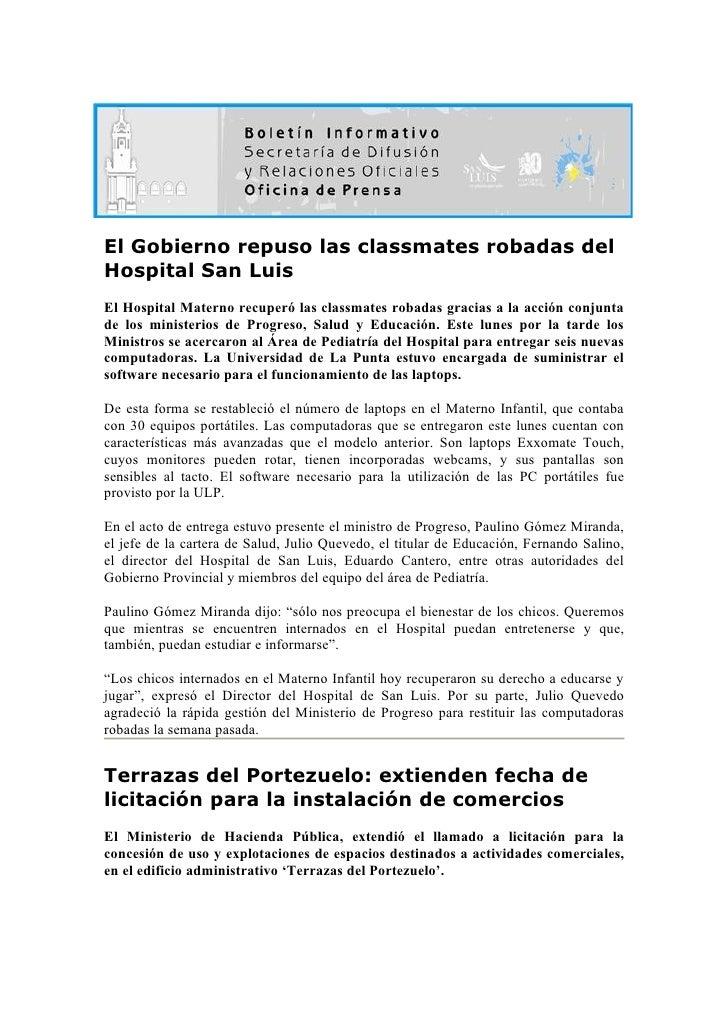 El Gobierno repuso las classmates robadas del Hospital San Luis El Hospital Materno recuperó las classmates robadas gracia...