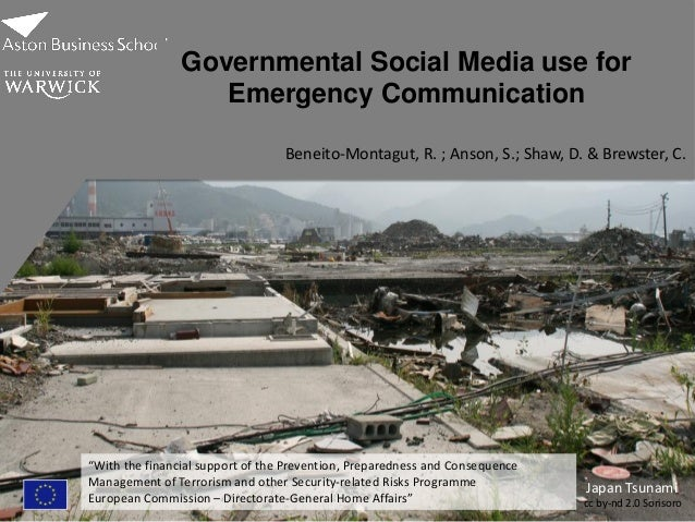 "Japan Tsunami cc by-nd 2.0 Sorisoro1 Governmental Social Media use for Emergency Communication ""With the financial support..."