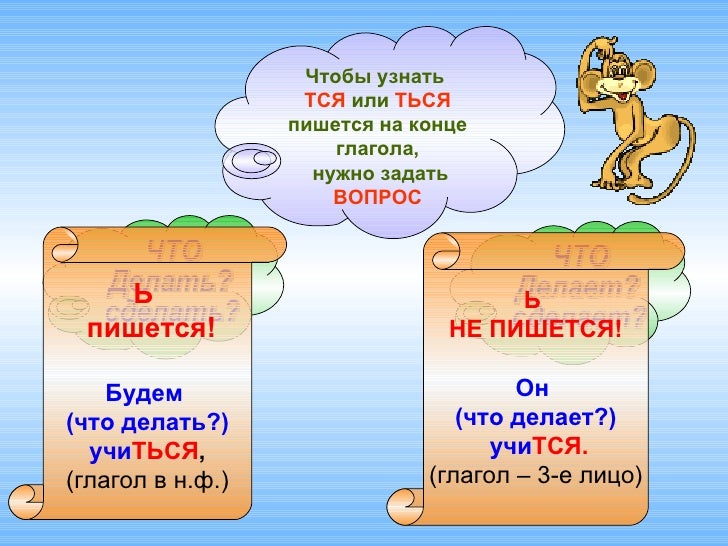 Чтобы узнать  ТСЯ  или  ТЬСЯ  пишется на конце глагола, нужно задать  ВОПРОС ЧТО  Делать?  сделать? ЧТО  Делает?  сделает?...