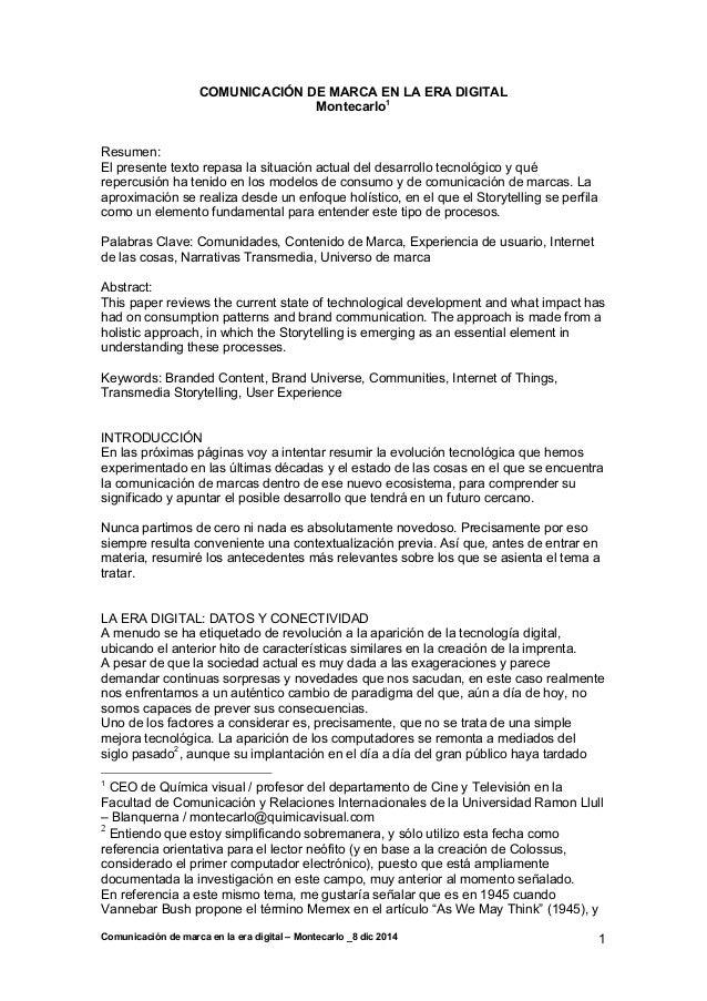 Comunicación de marca en la era digital – Montecarlo _8 dic 2014 1 COMUNICACIÓN DE MARCA EN LA ERA DIGITAL Montecarlo1 Res...