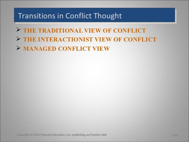 traditional view of organizational conflict Managing interpersonal conflicts in organizations this is called the traditional view of conflict the early approach assumed that conflict was bad and would view always have a negative impact on an organization conflict became synonymous with violence, destruction, and.