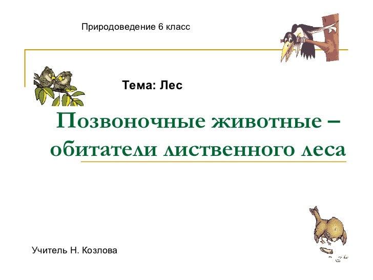Позвоночные животные – обитатели лиственного леса Природоведение 6 класс Тема: Лес Учитель Н. Козлова