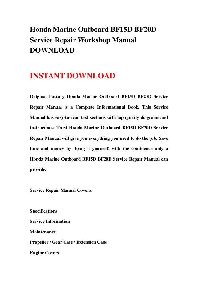 honda marine outboard bf15d bf20d service repair workshop manual down rh slideshare net honda bf20d3 manual Honda CR-V Owners Manual