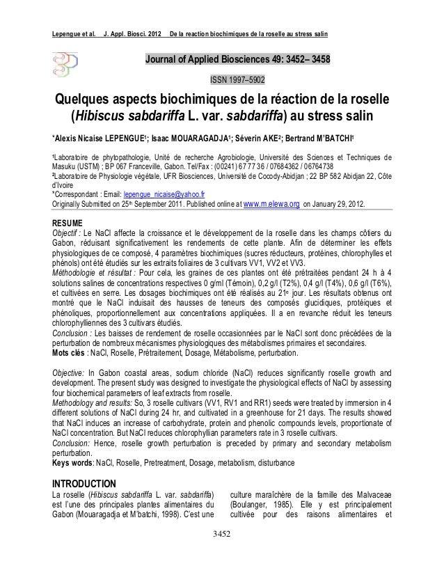 Lepengue et al.   J. Appl. Biosci. 2012   De la reaction biochimiques de la roselle au stress salin                       ...