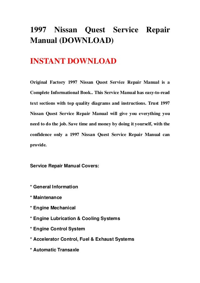 1997 nissan quest service repair manual download 1997 nissan quest service repair manual