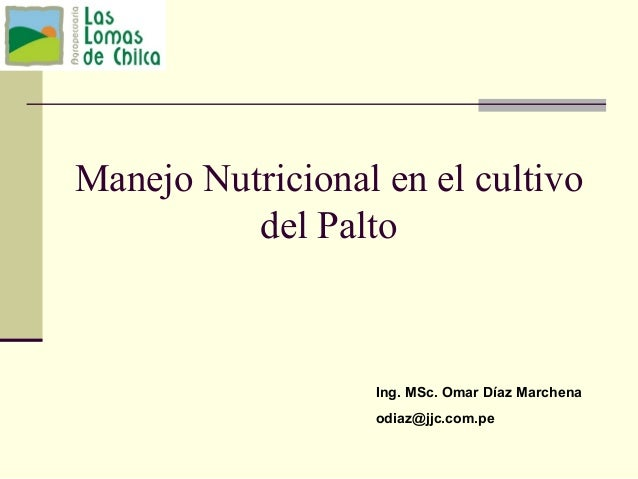 Manejo Nutricional en el cultivo del Palto Ing. MSc. Omar Díaz Marchena odiaz@jjc.com.pe