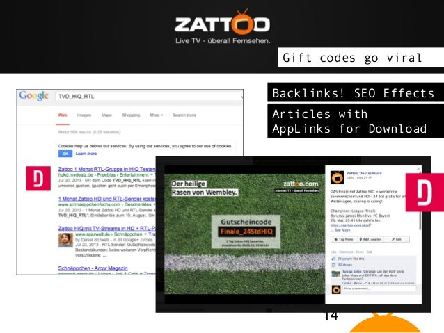 """The idea: Zattoo brings Live TV on """"connected devices"""" Gift codes go viral Backlinks! SEO Effects Articles with AppLinks f..."""