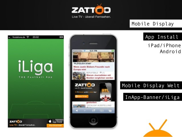Mobile Display App Install iPad/iPhone Android  Mobile Display Welt InApp-Banner/iLiga
