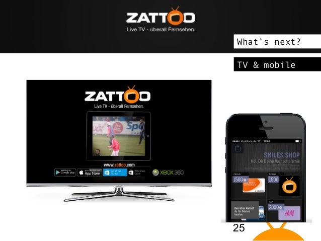 """The idea: Zattoo brings Live TV on """"connected devices"""" What's next? TV & mobile  25"""