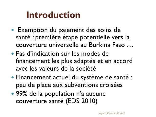 Introduction Exemption du paiement des soins de santé : première étape potentielle vers la couverture universelle au Burki...