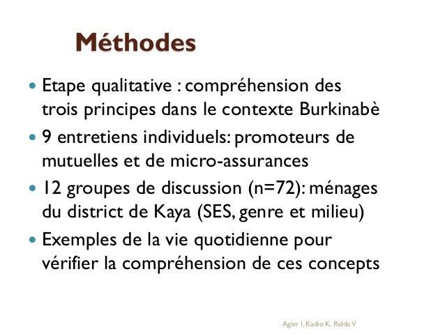 Méthodes Etape qualitative : compréhension des trois principes dans le contexte Burkinabè  9 entretiens individuels: prom...
