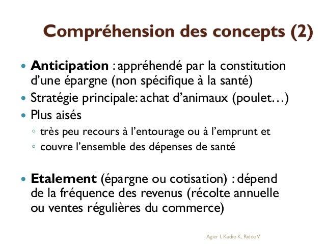 Compréhension des concepts (2)     Anticipation : appréhendé par la constitution d'une épargne (non spécifique à la san...