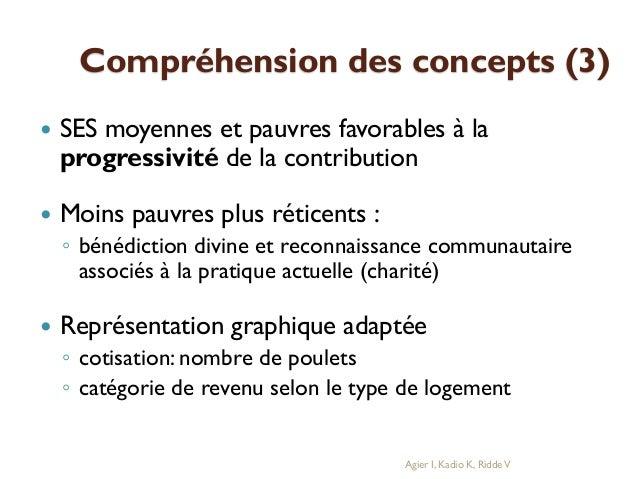 Compréhension des concepts (3)   SES moyennes et pauvres favorables à la progressivité de la contribution    Moins pauvr...