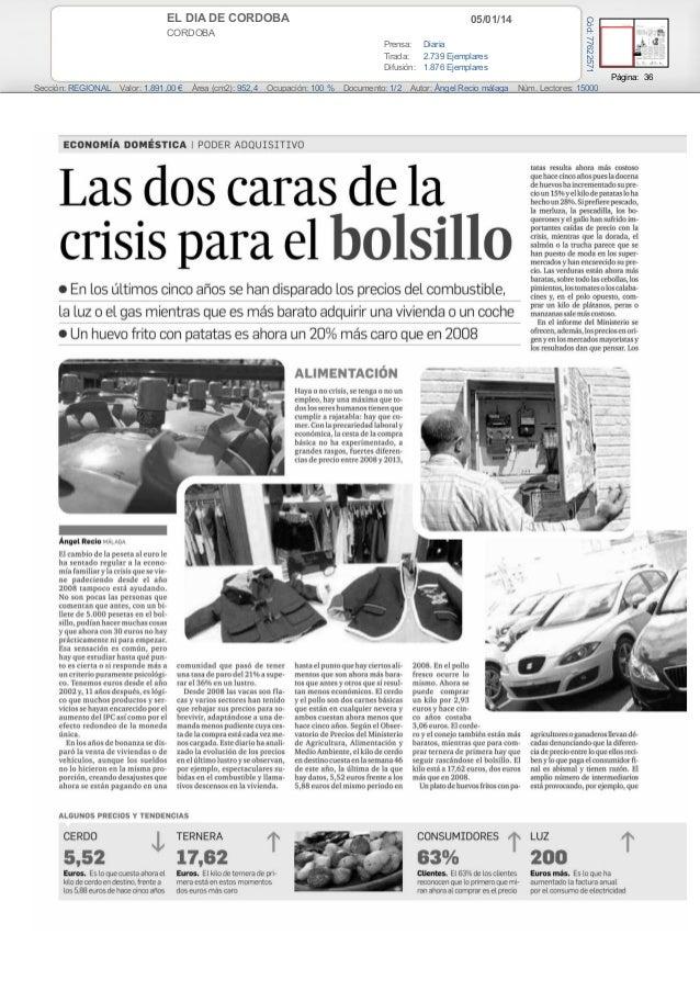 Las dos caras de la crisis paera el bolsillo (Diario de cordoba)