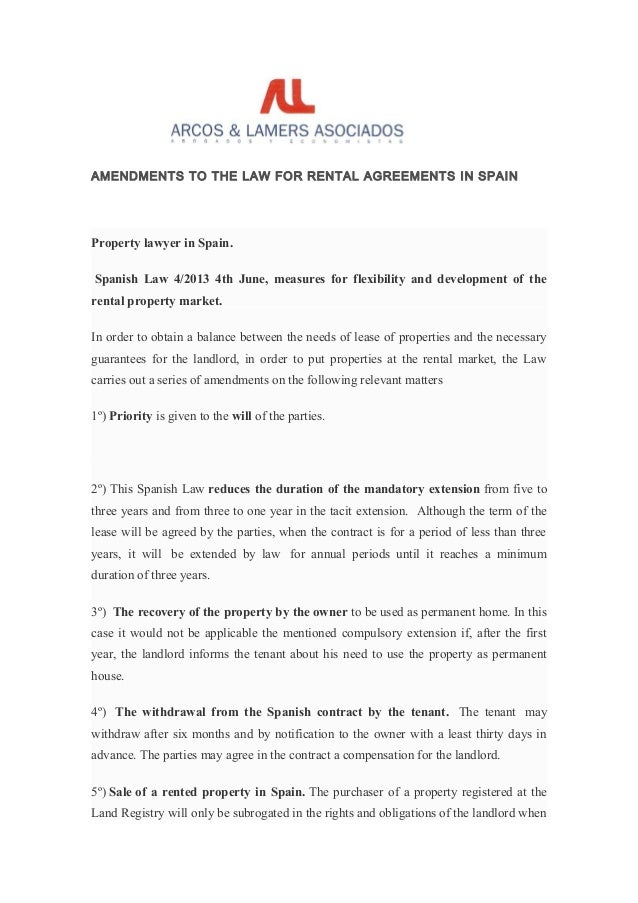 Amendments To The Law For Rental Agreements In Spain