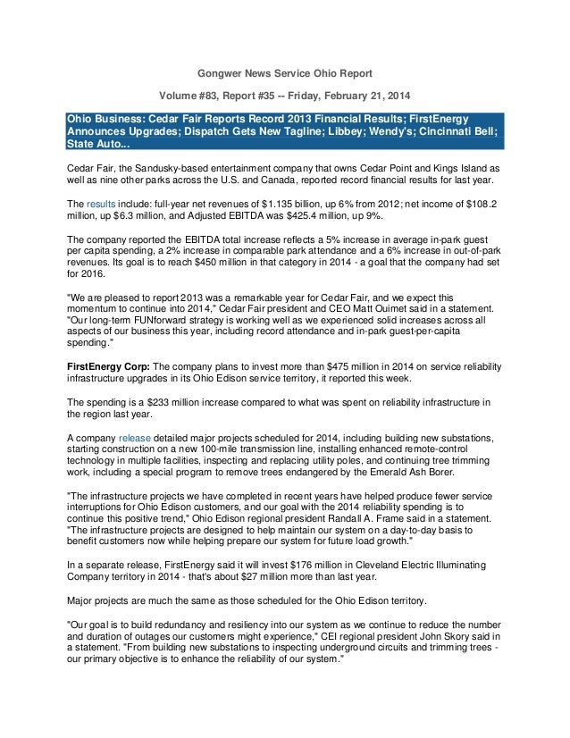 Gongwer News Service Ohio Report Volume #83, Report #35 -- Friday, February 21, 2014  Ohio Business: Cedar Fair Reports Re...