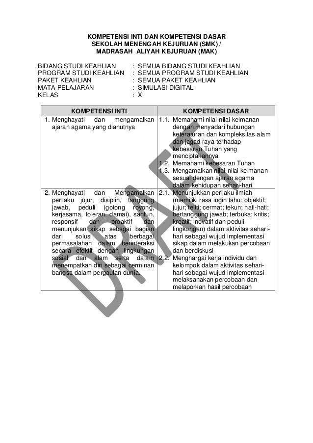KOMPETENSI INTI DAN KOMPETENSI DASAR SEKOLAH MENENGAH KEJURUAN (SMK) / MADRASAH ALIYAH KEJURUAN (MAK) BIDANG STUDI KEAHLIA...
