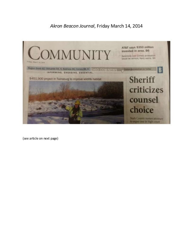 Akron Beacon Journal, Friday March 14, 2014 (see article on next page)