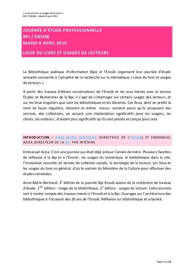 « Lieux du livre et usages de lecteurs » BPI / ENSSIB – Mardi 8 avril 2014 Page 1 sur 18 JOURNÉE D'ÉTUDE PROFESSIONNELLE B...