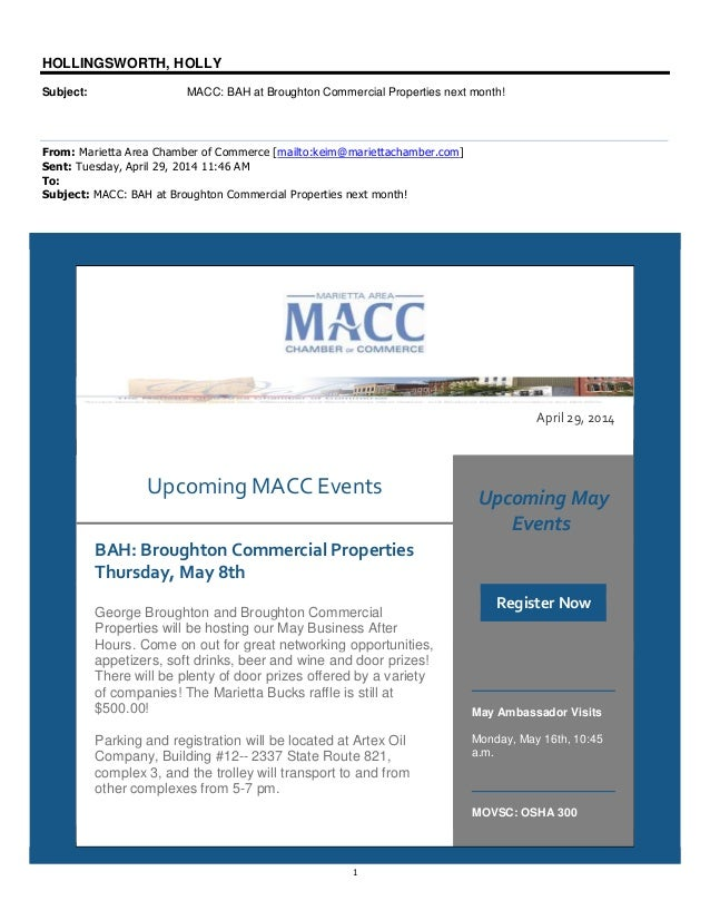 1 HOLLINGSWORTH, HOLLY Subject: MACC: BAH at Broughton Commercial Properties next month! From: Marietta Area Chamber of Co...