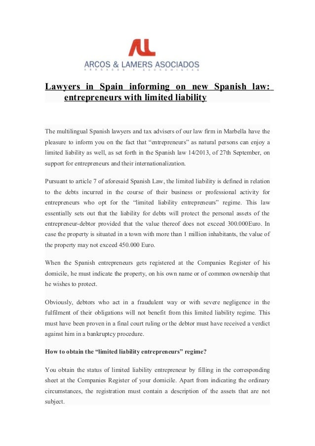 Lawyer in spain informing on new spanish law entrepeneurs ...