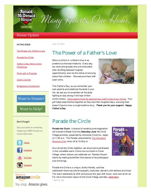 IN THIS ISSUE The Power of a Father's Love Parade the Circle Father's Day Hole-in-One Challenge Party with a Purpose Cook'...