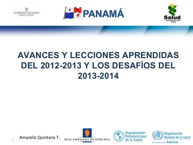 1 | Amarelis Quintero T. AVANCES Y LECCIONES APRENDIDAS DEL 2012-2013 Y LOS DESAFÍOS DEL 2013-2014