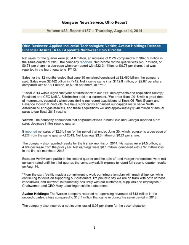 1 Gongwer News Service, Ohio Report Volume #83, Report #157 -- Thursday, August 14, 2014 Ohio Business: Applied Industrial...