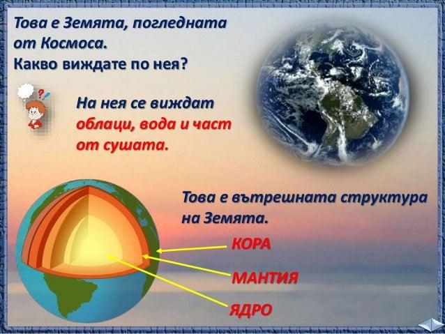 план  Опит с глобус /Земята/ и лампа /Слънцето/  ще ни покаже как става това.  Денят и нощта непрекъснато се  сменят, защо...