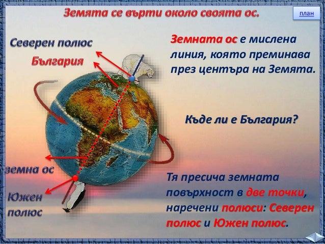 тъмно  Лампата осветява само предната част на глобуса,  която е обърната към нея. Там е ____.  ден  Задната част на глобус...