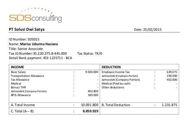 14 sds salary slip marisa udurma hasiana february 2015 prote – Salary Slip
