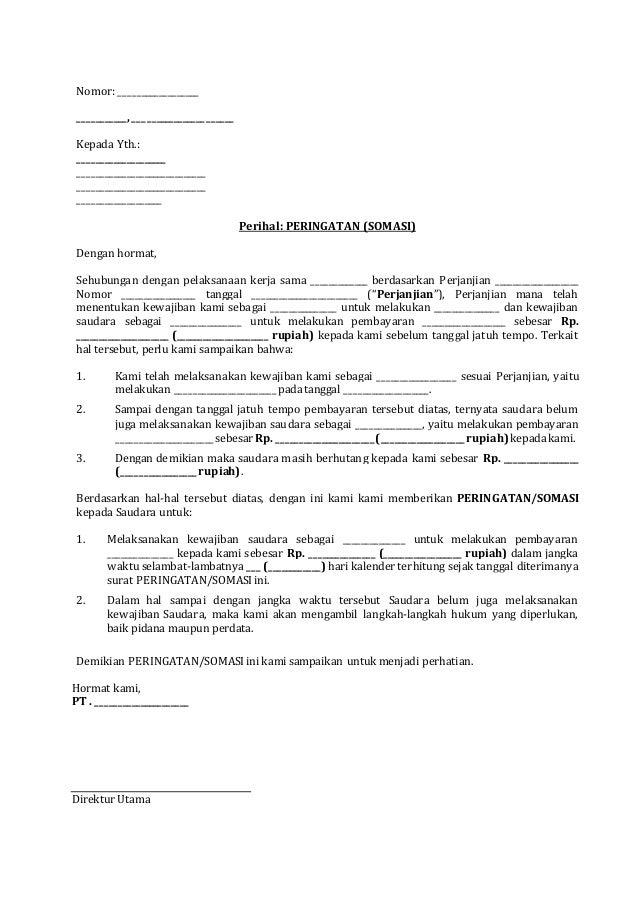 Surat peringatan (somasi) untuk melakukan pembayaran