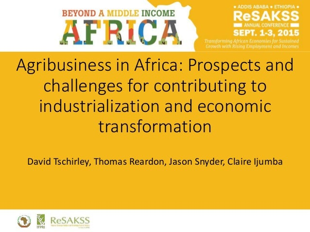 Agribusiness in Africa: Prospects and challenges for contributing to industrialization and economic transformation David T...