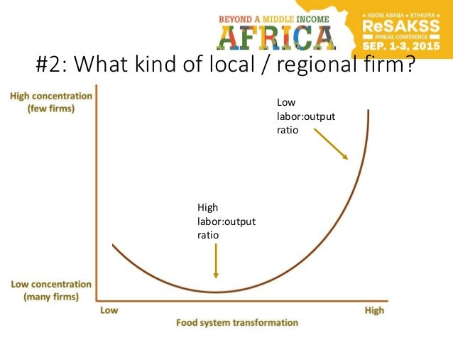 #2: What kind of local / regional firm? High labor:output ratio Low labor:output ratio