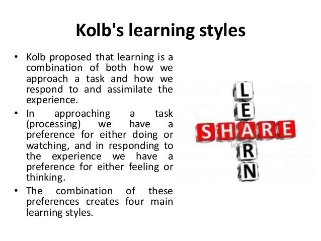 how kolb's learning styles influence the Reflective practice: the enduring influence of kolb's experiential it forms the basis of kolb's own learning styles' inventory and those of other authors.