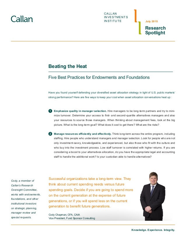 Beating The Heat Five Best Practices For Endowments And Foundations