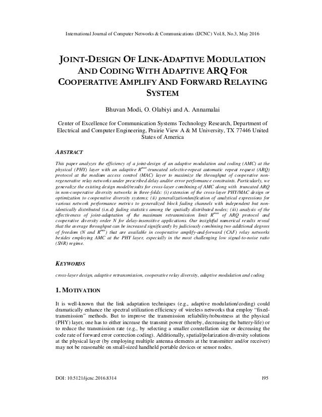 International Journal of Computer Networks & Communications (IJCNC) Vol.8, No.3, May 2016 DOI: 10.5121/ijcnc.2016.8314 195...